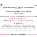 Rencontre-débat autour du film «Ou va Paris» jeudi 23 mai à 20h au Pavillon de l'Eau, 77 av de Versailles 75016